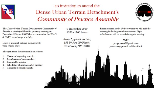 Dense Urban Environment Community of Practice Assembly (COPA)
